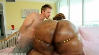 Ebony BBW Superstar With Seventy Inch A-hole Receives Destroyed By White Rod