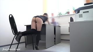 Hidden cam! Disrobes at REAL job interview
