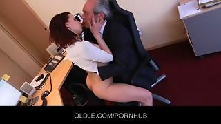 Youthful secretary seduces her Mature Boss