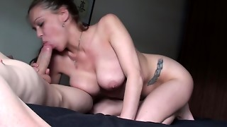 Kneeling On The Bed, Engulfing My BF's Massive Hard Cock, Rubbing Cum On My DDDs