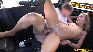 Youthful Gal golden-haired hair beauty Cherry side had intercourse in leather boots in..