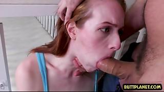 Redhead gal gagging fellatio