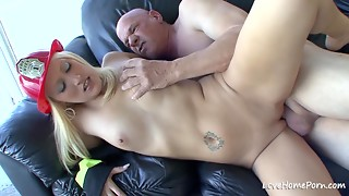 Very Sexy firefighter girl is lovely her mature boy