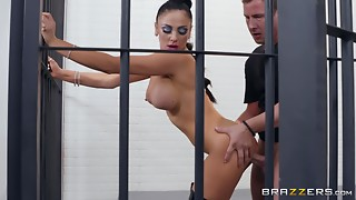 Large boobed brunette hair in leather boots Audrey Bitoni bonks in reverse cowgirl pose