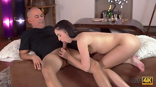 OLD4K. Impressive 18-year-old approaches aged man hoping to..