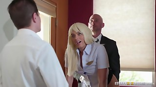 A hawt receptionist acquires drilled doggy style by her boss at work