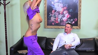 Golden-haired Chick Disrobes For Hung Chap