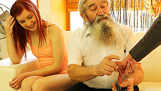 DADDY4K. Chap caught mature daddy fingering his GF and...