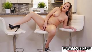 Carmen Valentina Rubs Her Slit On The Kitchen