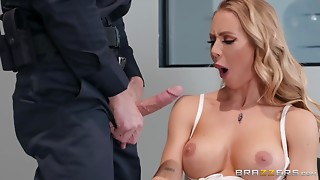 Officer thrusts tongue into white cum-hole of a big breasted chick