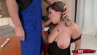 Large knockers porn star hard bang ass drilling with facial