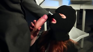 Masked Female Robber With Plumpy Lips Sucks Thick 10-Pounder