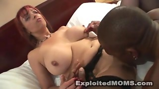 Lewd old acquires ejaculation all over her large marangos after interracal sex