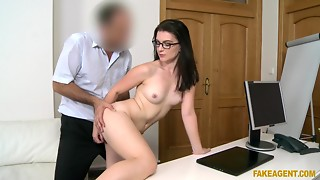 Fake agent gives it to a lewd brunette hair in geeky glasses in audition interview