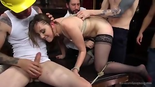 Coarse gang team fuck with cum shower and double arse stab penetration