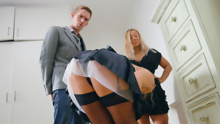Maid Alessandra Jane teasing the large tip of Danny's ramrod in advance of doggy bang