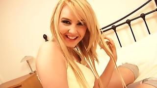 Eighteen y.o. bulky blond is hot underware makes herself juicy in solo scene