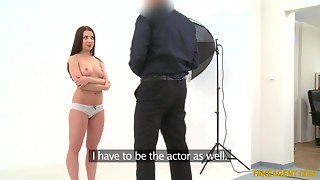 Pleasant brunette hair Therese Extreme desires to become a pornstar