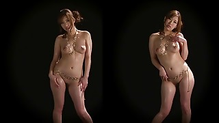 Breathtaking Oriental sweetheart in gold chain shows her amazing wazoo