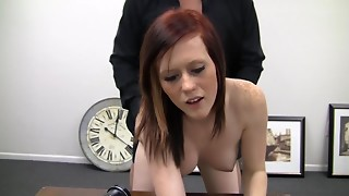 Porn audition with non-professional Grace shagging and cumming loud
