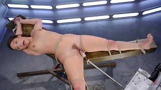 Fastened up sweetie acquires a bright fucking machine agonorgasmos