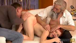 DADDY4K. Elder pervert thrusts his fingers into hoochie-coochie...