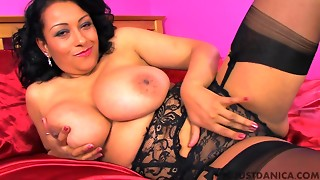 Oriental brown aged mommy with large naturals earns to be gratified in sofa