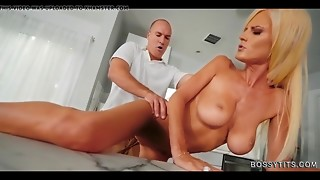 Slim golden-haired Cougar MILF with large meatballs bows over and drilled