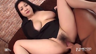 Unshaved cum-hole Japanese Oriental hottie with large naturals permeated in POV