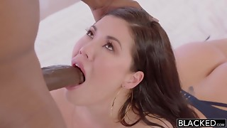 Charming breasty brunette hair taking Big black cock in interracial copulation