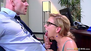 Large weenie boss Johnny Sins fucking golden-haired bigtitted Cougar in his office