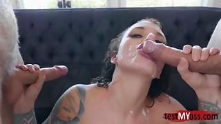 Very Hawt porn actress DP and cum load discharged