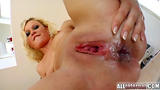 Her pumped rump swells with his goo jizz