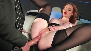 Danny has sex with a slutty redhead coworker in darksome nylons