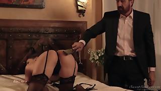 Suited Dad Punishes Astonishing Gal In Ebony Underware