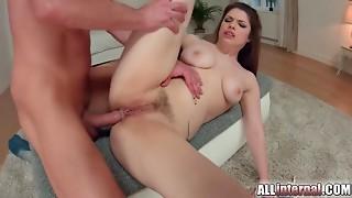Allinternal dark brown tastes her anal job creampie