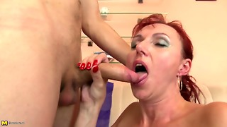 Non-professional mom engulf and shag plump youthful rod