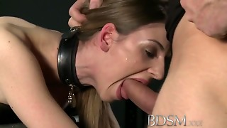 S&m XXX Juvenile bigtitted sub receives hard anal sex from slaver