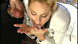 Sizzling Vintage Pornstar Licks Off Creamy Jizz Out Her Hands