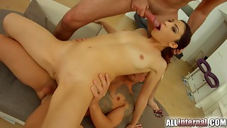All Inner Russian DP and anal sex creampie