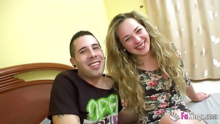This babe calls her boyfriend during the time that cuckolding him!