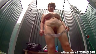 Older Big breasted Woman in Shower