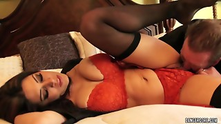 Bushy mama with large naturals jumps on large shlong in red underware