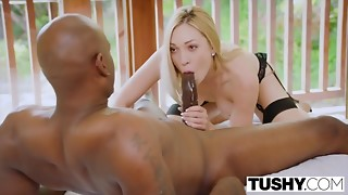 Yammy Teenie Golden-haired Gives A Very Slobber Blow job In advance of Interracial Arse..