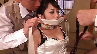 Spruce Oriental hotty receives dominated with arse stab screw by 2 brutal fellows