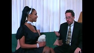 Older stud makes his hawt maid clean his lengthy pecker on ottoman