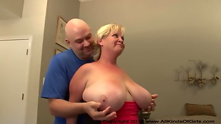 Big natural breasted BBW golden-haired doggy drilled after unfathomable face hole