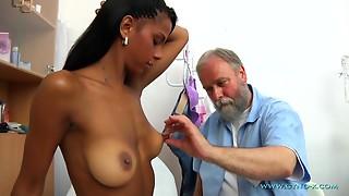 Bearded Elder Gynecologist Checks-Up All Holes Of Juvenile Asian Lady