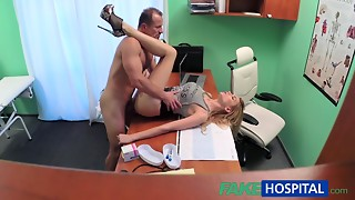 Skinny playgirl with a taut love tunnel makes doctor cum twice