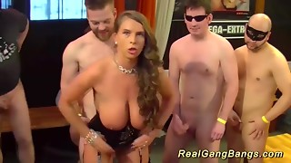Hawt Susi invites a group of guys to bang and cum on her